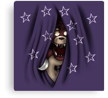 Peeking Foxy (with curtain stars) Canvas Print