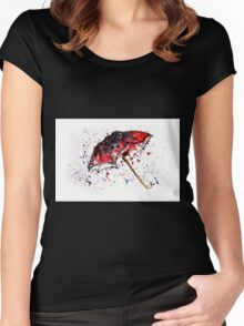 Watercolor painting of umbrella and water splashes Women's Fitted Scoop T-Shirt