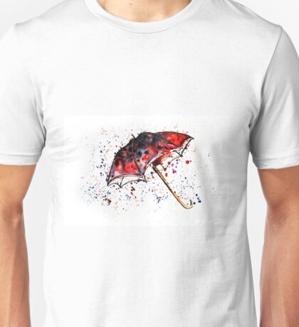 Watercolor painting of umbrella and water splashes Unisex T-Shirt