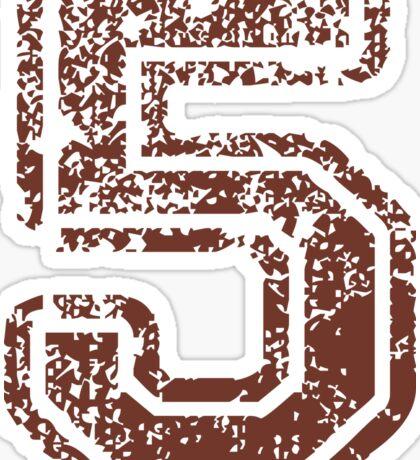 Big Maroon Number 5 Five Distressed Sticker