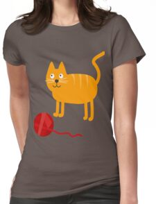 Funny Lovely Vector Graphic Cat For Animal Kitty Lovers Womens Fitted T-Shirt