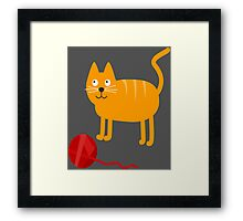 Funny Lovely Vector Graphic Cat For Animal Kitty Lovers Framed Print