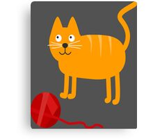 Funny Lovely Vector Graphic Cat For Animal Kitty Lovers Canvas Print