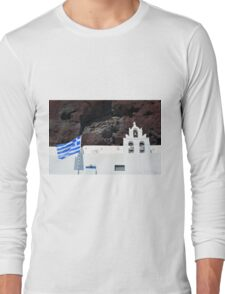 Greek flag and white church with bells Long Sleeve T-Shirt