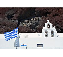 Greek flag and white church with bells Photographic Print