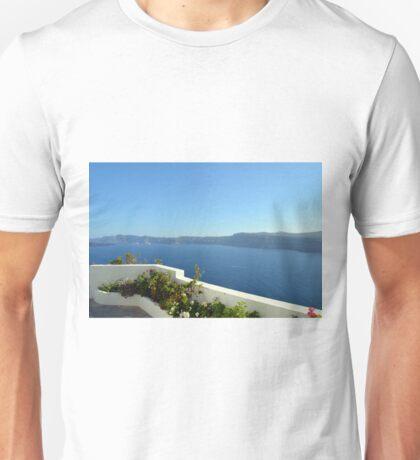 White architecture in Santorini, Greece Unisex T-Shirt
