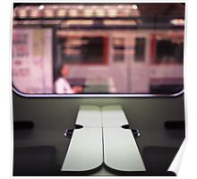 Train table and station Hasselblad medium format 120 square 6x6 negative c41 color analogue photograph Poster