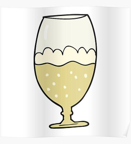 cartoon beer in glass Poster