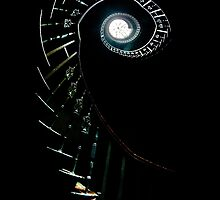 Spiral stairs in high contrast in abandoned house by JBlaminsky
