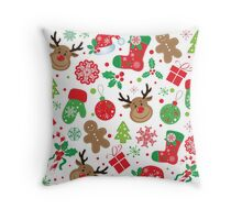 Lustiges buntes Weihnachtsmuster Throw Pillow