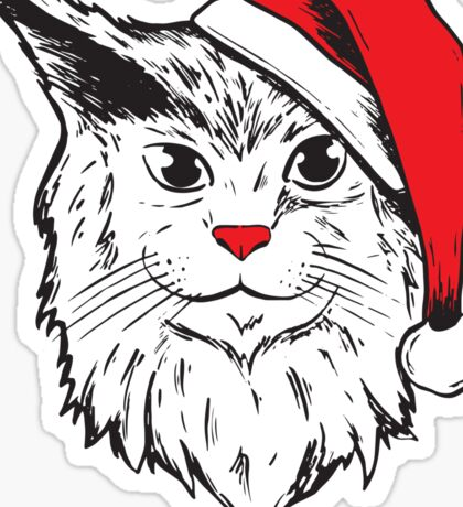 Funny Christmas Santa Claus Hat Cat Holiday  Sticker