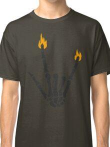 Burning rock skeleton hand Classic T-Shirt