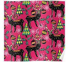 festive deer pink Poster