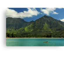 Kayaks In Hanalei Bay Canvas Print