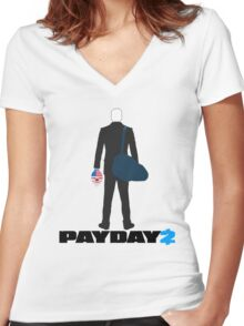 Payday 2-Dallas-Black Women's Fitted V-Neck T-Shirt
