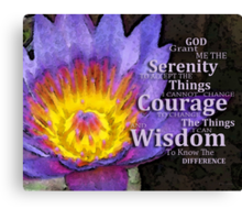Serenity Prayer With Lotus Flower By Sharon Cummings Canvas Print