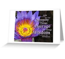 Serenity Prayer With Lotus Flower By Sharon Cummings Greeting Card
