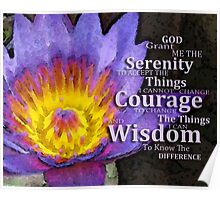 Serenity Prayer With Lotus Flower By Sharon Cummings Poster