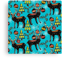 festive deer blue Canvas Print