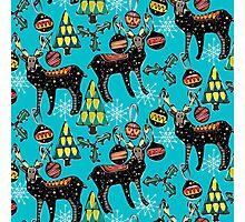festive deer blue Photographic Print