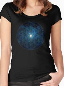 Sacred Geometry: Flower Of Life - Cosmic Blue Women's Fitted Scoop T-Shirt