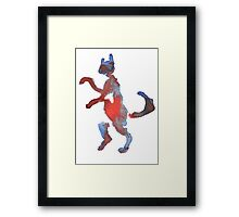 Red And Blue Walking Cat Framed Print