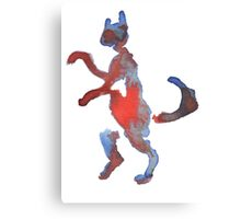 Red And Blue Walking Cat Canvas Print