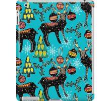 festive deer blue iPad Case/Skin