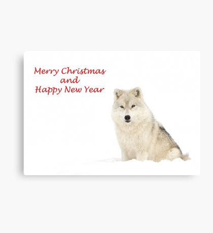 Christmas Arctic wolf Canvas Print
