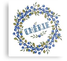 Watercolor Blue berris  branches wreath Metal Print