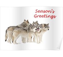Christmas Wolf Pack Poster