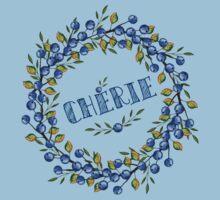 Watercolor Blue berris  branches wreath Kids Clothes