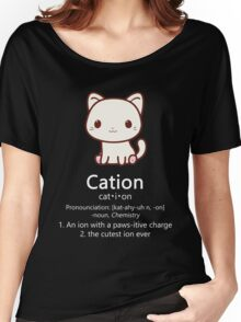Cute Science Cat T-Shirt Kawaii Cation Chemistry Pawsitive Women's Relaxed Fit T-Shirt