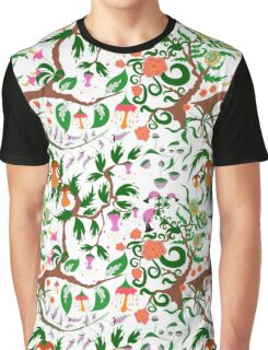 Fairy floral seamless pattern with unusual plants, trees and flowers Graphic T-Shirt
