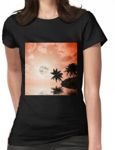 Silhouettes of palm trees on the artistic background Womens Fitted T-Shirt