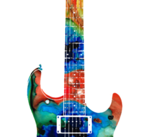 Colorful Electric Guitar 2 - Abstract Art By Sharon Cummings Sticker