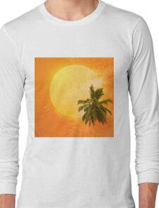 Silhouettes of palm trees on the artistic background Long Sleeve T-Shirt