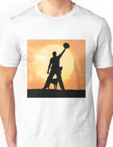 Male silhouette on background amazing sunset Unisex T-Shirt