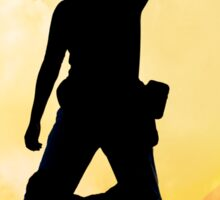 Male silhouette on background amazing sunset Sticker