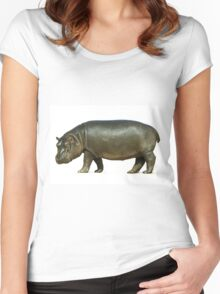 figure of a young hippo. Isolation on white background Women's Fitted Scoop T-Shirt