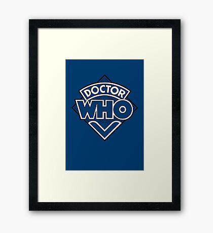 Doctor Who Diamond Logo Blue White Lines. Framed Print