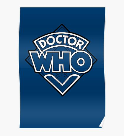 Doctor Who Diamond Logo Blue White Lines. Poster