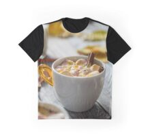 Hot chocolate with marshmallows in a  cup and book on  wooden surface. Shallow depth of field Graphic T-Shirt