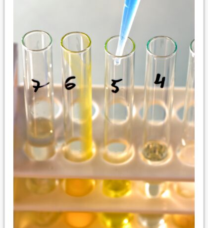 Conceptual image of a science experiment. Test tubes in a rack  Sticker