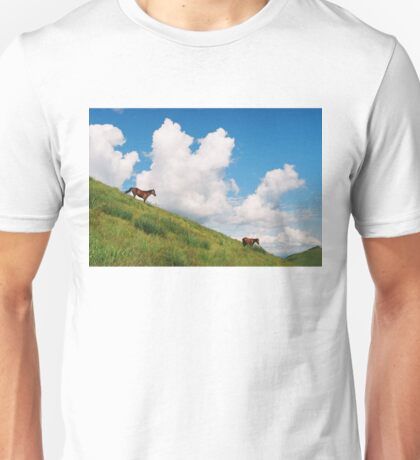 Horses on the hillside Unisex T-Shirt