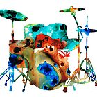 The Drums - Music Art By Sharon Cummings by Sharon Cummings
