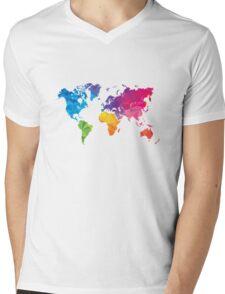 Low poly world map Mens V-Neck T-Shirt
