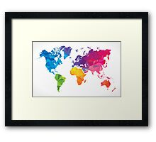 Low poly world map Framed Print
