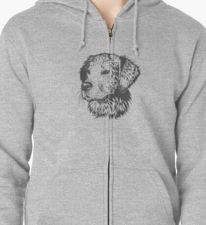 Lovely Cute DOG Sketched Zipped Hoodie