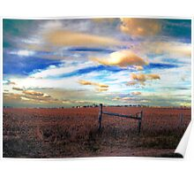 Fields Under a Swirling Sky Poster